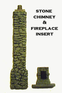 28mm WWII Building Stone chimney with Fireplace