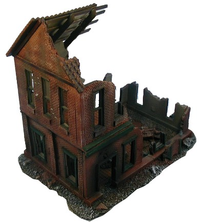 Ruined 2 story building WWII miniature gaming terrain