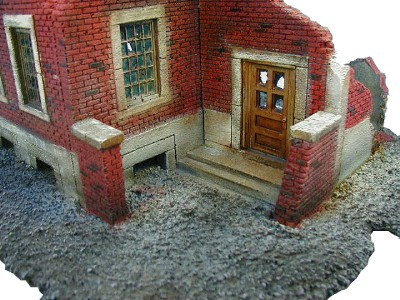 Ruined Brick House WWII miniature wargaming buildings terrai