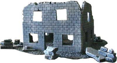 Ruined Stone Building WWII miniature wargaming buildings terrain
