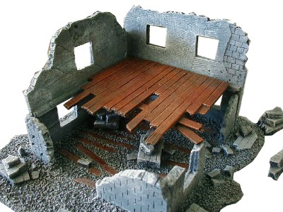 Ruined Stone Building WWII miniature wargaming buildings terrai